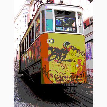 Graffiti Lisbon tram by detipograf