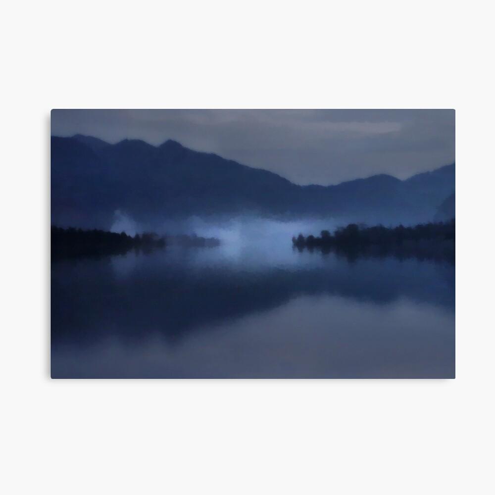 Fog on the Dark Mountain Lake Canvas Print