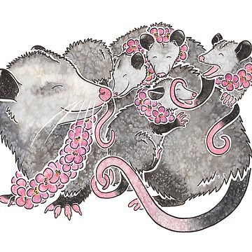 Opossum with babies by animalartbyjess