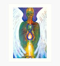 Angel of Alchemy - acylic on canvas with feathers Art Print