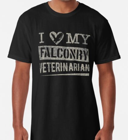 """Grunge Style """"I Love My Falconry Vet"""" for Falconers and Falconry Supplies. Falconry Veterinarian Gifts and T-shirt. Long T-Shirt"""