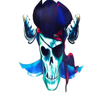 Skull Pirate Skeleton T-shirt Bone Denger by AbdelaaliKamoun