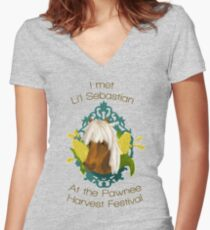 I met Li'l Sebastian at the Pawnee Harvest Festival Women's Fitted V-Neck T-Shirt
