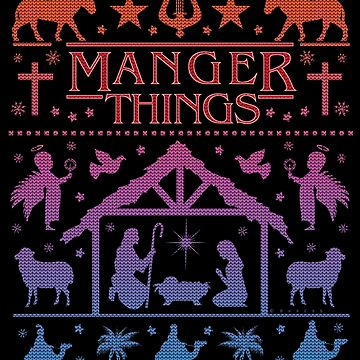 Funny Ugly Christmas Sweater Manger Things Nativity Scene by emkayhess