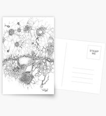Bacteriophage ballet, ink drawing on paper by Regina Valluzzi Postcards