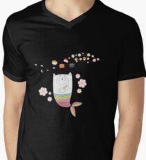 Camiseta para hombre de cuello en v Gato marmaid