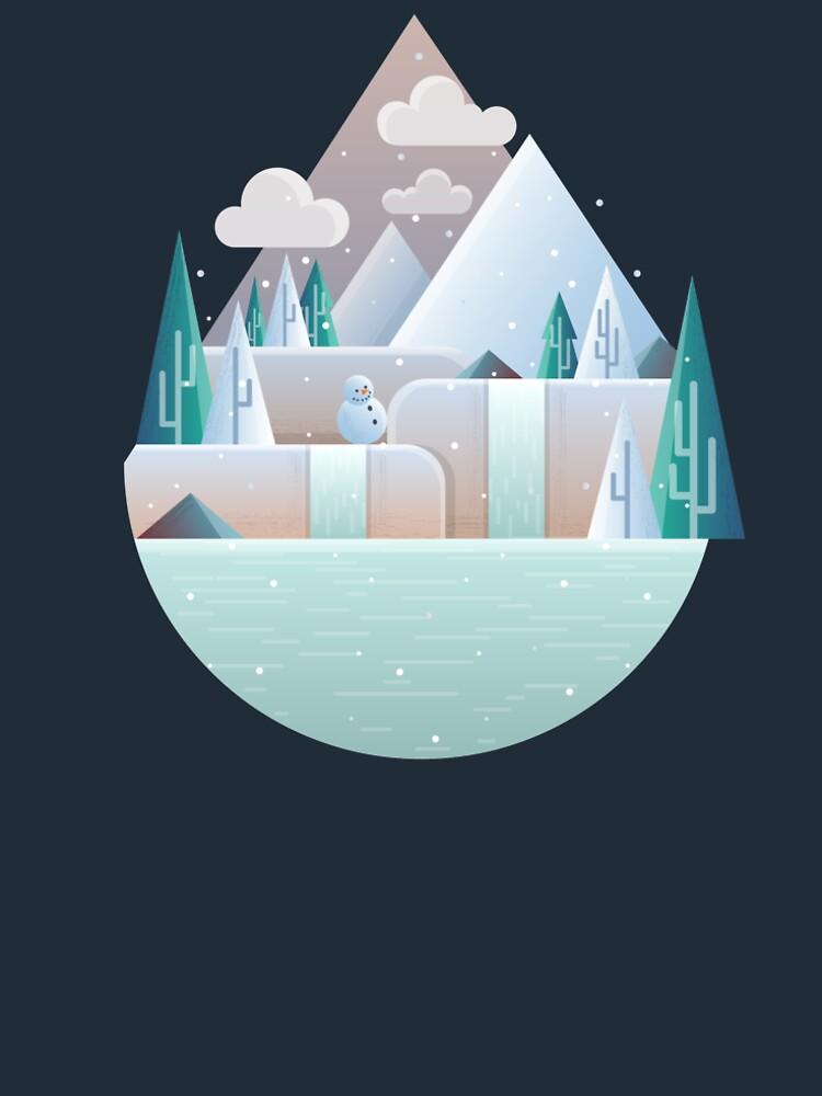 Flat winter landscape illustration by creaschon