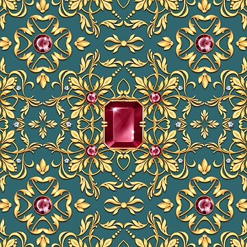 Golden pattern with ruby by Gribanessa
