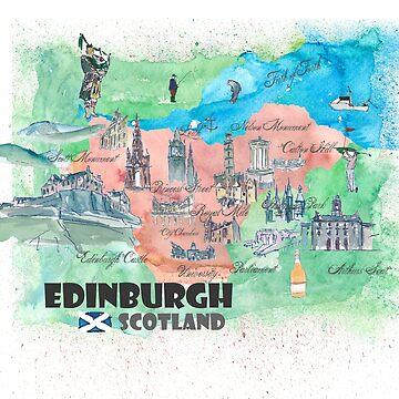 Edinburgh Scotland Travel Map by artshop77