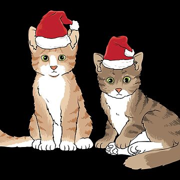 Christmas Cute Cat Red Hat Gift by Sandra78