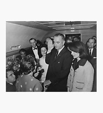 LBJ Taking The Oath On Air Force One Photographic Print