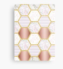 Blush Hexagonal Marble Metal Print