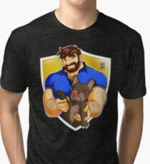 ADAM LIKES FRENCHIES - BRINDLE BULLDOG Tri-blend T-Shirt