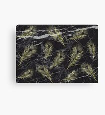Gold Feathers vs. Black Marble Canvas Print