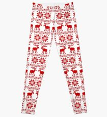 Moose Pattern Christmas Sweater Leggings