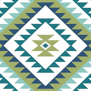 Aztec Motif Diamond Teals Lime Blue White by NataliePaskell