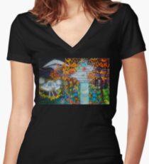 Midnight Transfer Women's Fitted V-Neck T-Shirt