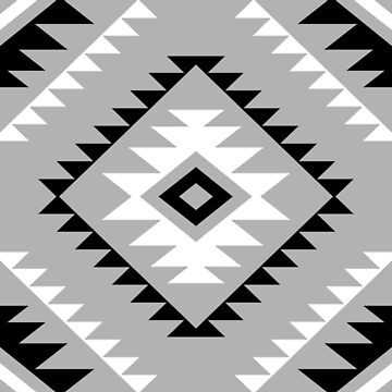 Aztec Style Motif Pattern Black White Gray by NataliePaskell