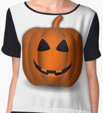 Pumpkin Halloween #halloween #pumpkin #orange #autumn #holiday #isolated #lantern #october #evil #face #jackolantern #horror #scary #jack #decoration #spooky #3d #illustration #season #smile #black Chiffon Top