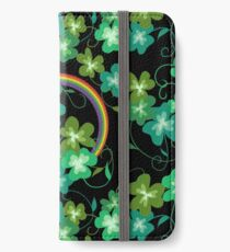 Irish Shamrocks and Gold at the end of the rainbow iPhone Wallet/Case/Skin