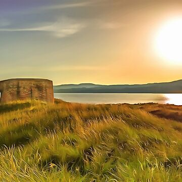 Martello Tower at Magilligan, Ireland. (Painting) by cmphotographs