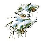 A Christmas time vintage picture of a bird on a snow capped pine tree branch by Epic Splash Creations