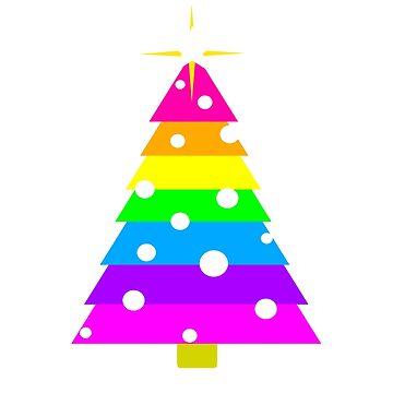 Rainbow Christmas Tree, Holiday Fir, Colorful, Pastel, Bright, Star by LouisianaLady