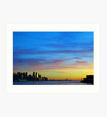 new york city downtown sunset cityscape skyline, from new jersey hudson river side, nyc, usa Art Print