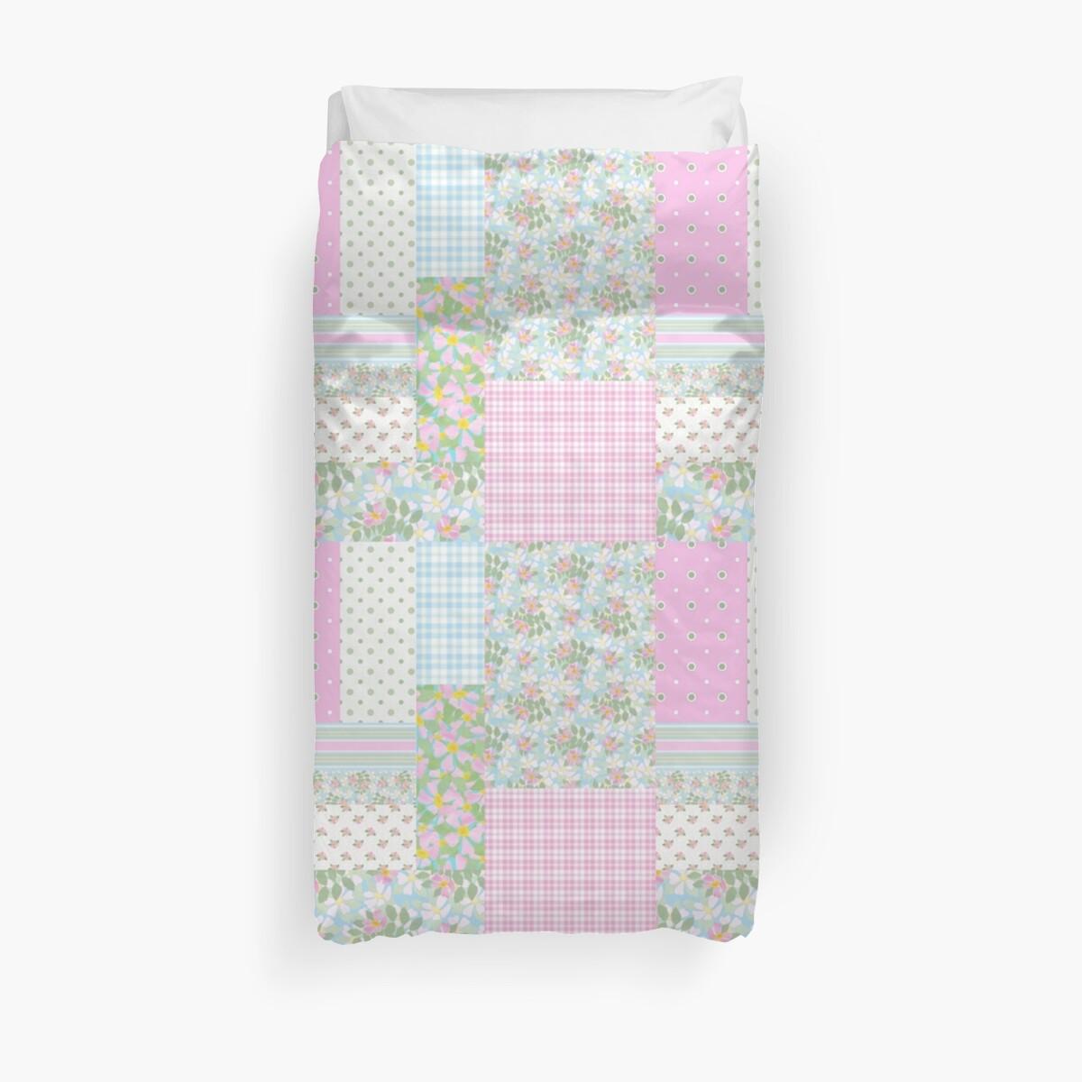 Hübsche rosa Hundedrops Faux Patchwork von Judy Adamson