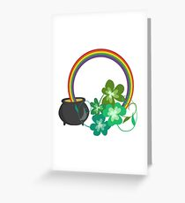 Irish Shamrocks and Gold at the end of the rainbow Greeting Card