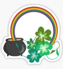 Irish Shamrocks and Gold at the end of the rainbow Sticker