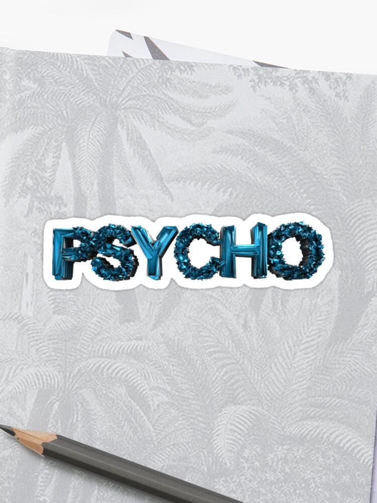 PSYCHO metallic 3D lettering Sticker