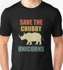 Speichern Sie das mollige Einhorn-T-Shirt Vintages Retro Slim Fit T-Shirt