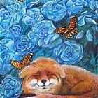 Crisp Summer Morning:  Blue Roses, Fox, Monarch Butterflies by tinaschofield
