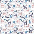 Origami woodland II // pink blue and violet animals by SelmaCardoso