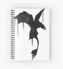 Toothless Silhouette - Ink Drips Spiral Notebook