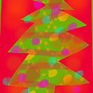 Red and Green Retro Christmas Tree by Michael Pfleghaar
