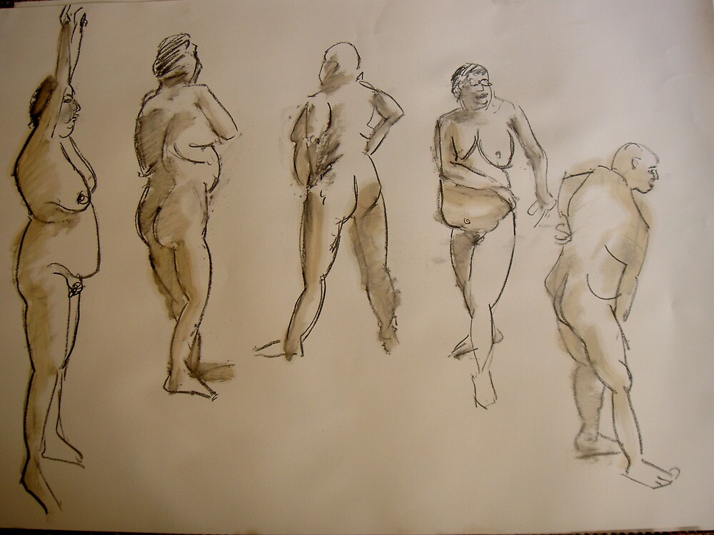 studies of a fat woman- 2 minute drawings by Jeremy Wallace