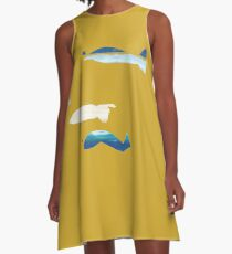 Expressive Fishes A-Linien Kleid