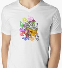Digimon and Crests V-Neck T-Shirt