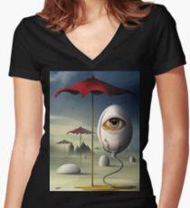 Lágrima Tailliertes T-Shirt mit V-Ausschnitt