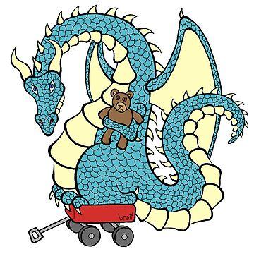Dragon with a Wagon (blue) by bgilbert