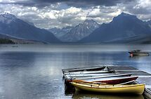 Docked Canoes by Terence Russell
