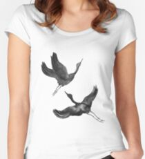 Flying Cranes Women's Fitted Scoop T-Shirt