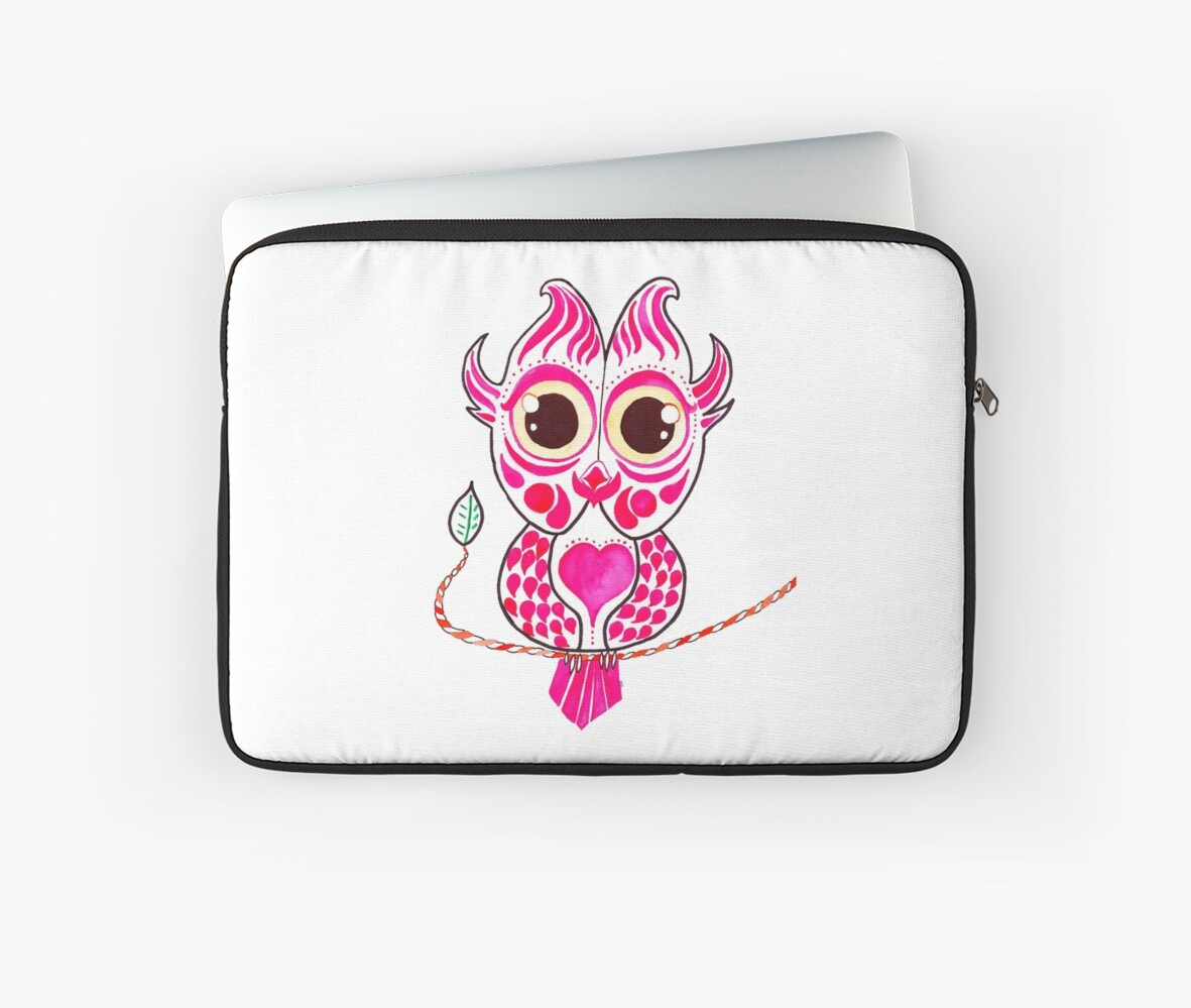Watercolor Art   Pink Owl by coloringiship