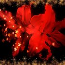 Festive Red Lilies With Gold Snow And Stars by hurmerinta