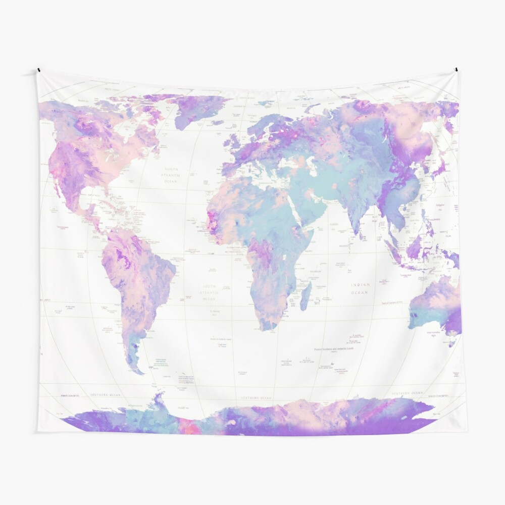Unicorn Earth Map Wall Tapestry