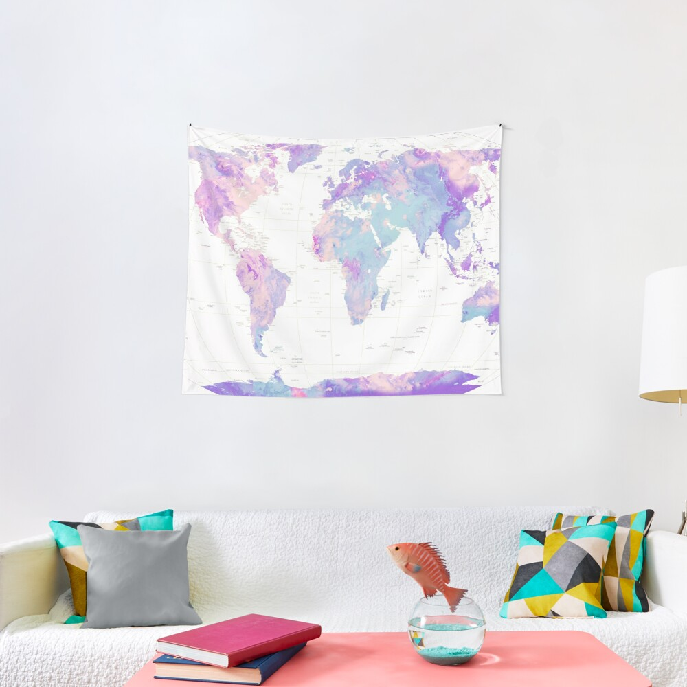 Unicorn Earth Map Tapestry