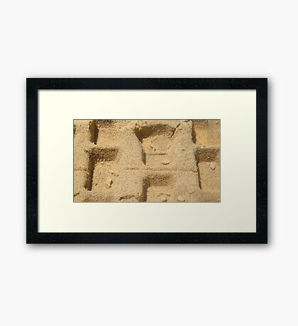 Fresh 4wd tyre treads imbedded in the sand (double Island Point) Framed Print
