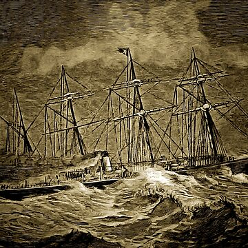 A digital painting of A White Star Liner Crossing the Atlantic 19th century by ZipaC